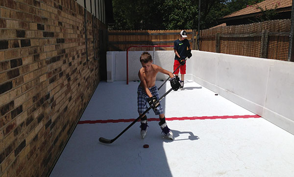 Outside Residential Synthetic Ice Rink Hockey 1