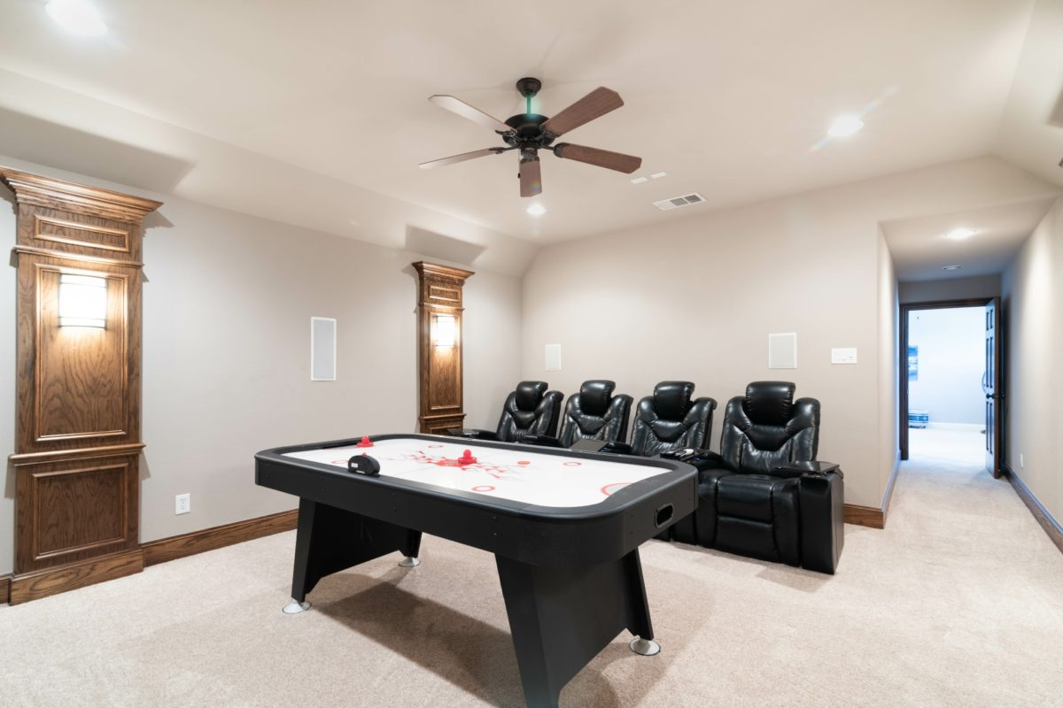 An open room used for air hockey play